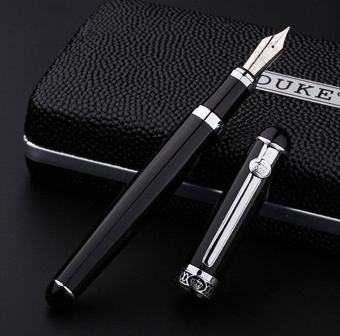 Luxury Gift Pen Set Duke 2009 Smooth Black Metal Fountain Pen 0.5 mm Iridium Nib Ink Pens for Writing School Supplies цена
