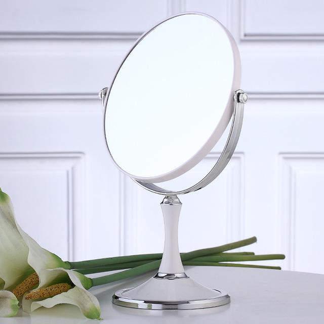 Maquillaje Cosmético 8 Pulgadas de Aumento 2x Redondo Ovalado Espejo de Maquillaje Doble 2 Cara Normal y 2x Ampliación Del Soporte Del Espejo