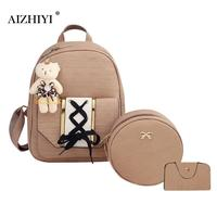 3pcs Set Women Cute Soft PU Tie Backpack Round Small Shoulder Bags Teengers Girls Four Pieces