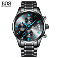 ANGELA BOS Chronograph Timer Fashion Watch Men Quartz Watch Luminous Calendar Date Stainless Steel Mens Watches