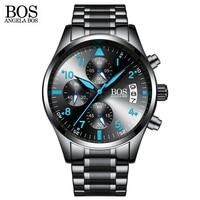 ANGELA BOS Chronograph Timer Fashion Watch Men Quartz watch Luminous Calendar Date Stainless Steel Mens Watches Top Brand Luxury