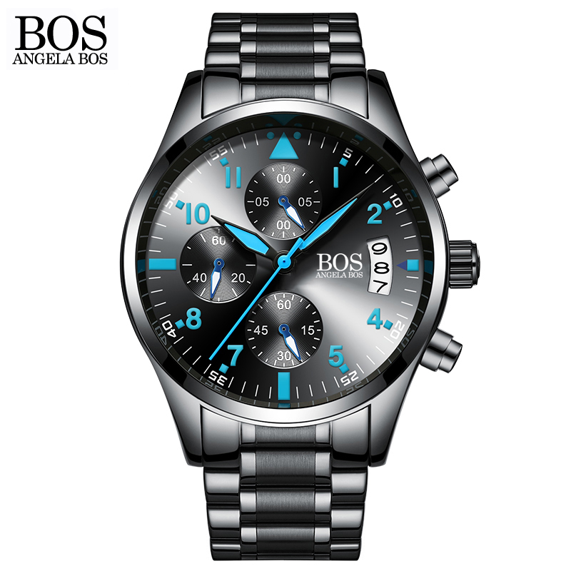 ANGELA BOS Chronograph Timer Fashion Watch Men Quartz-watch Luminous Calendar Date Stainless Steel Mens Watches Top Brand Luxury