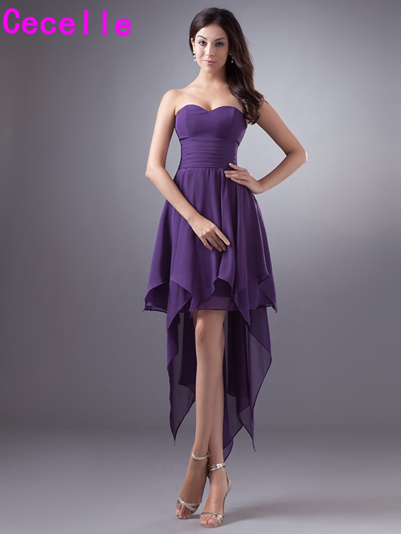 Purple short high low chiffon bridesmaid dresses cheap for Purple plus size dresses for weddings