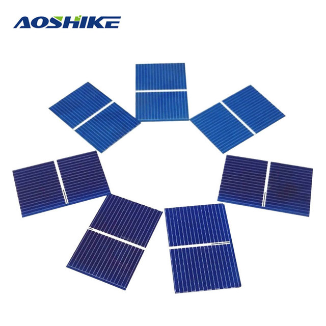 Aoshike 100pcs Solar Panel Sunpower Solar Cell photovoltaic panels Polycrystalline DIY Solar Battery Charger 0.5V 0.17W 39x26mm