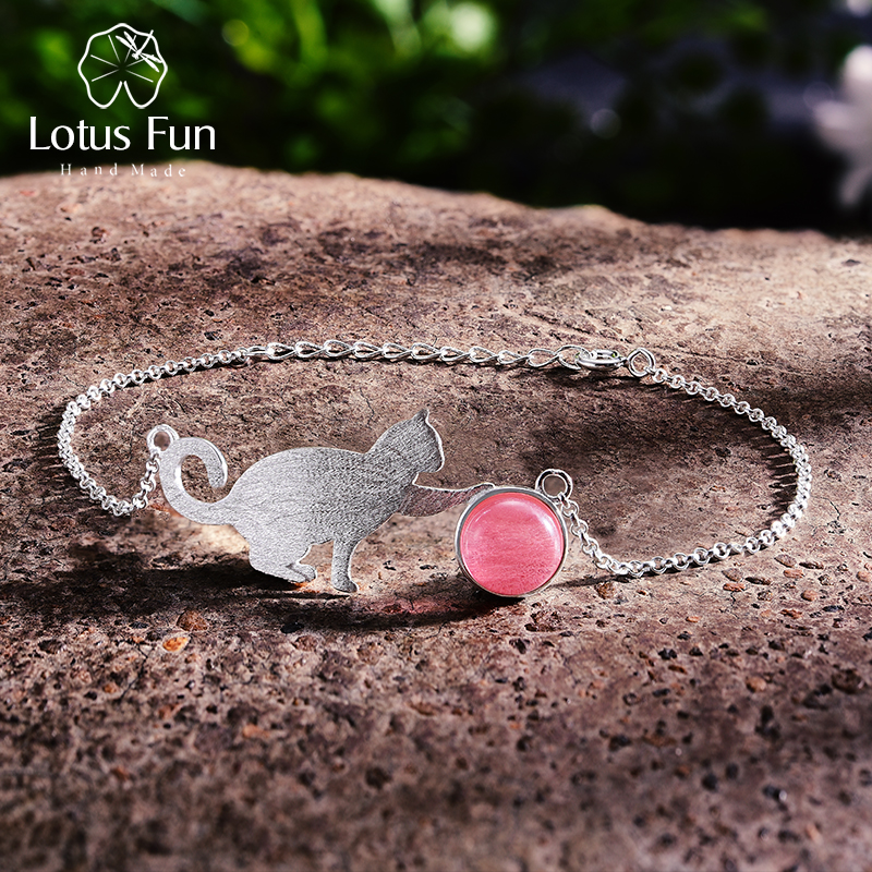 Lotus Fun Real 925 Sterling Silver Natural Stone Creative Handmade Fine Jewelry Playing Cat Fashion Bracelet