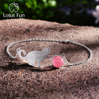 Lotus Fun Real 925 Sterling Silver Natural Stone Creative Handmade Fine Jewelry Playing Cat Fashion Bracelet for Women Bijoux