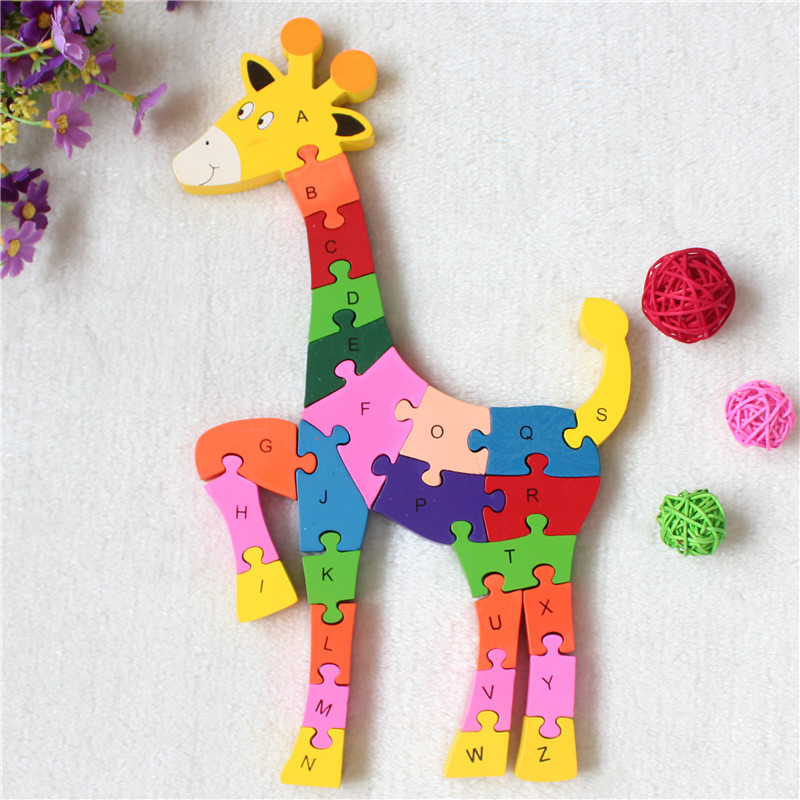New Educational Toys Kids Giraffe Wooden Toys Wood Kids 3d Puzzle Kids Jigsaw Puzzles Brinquedo
