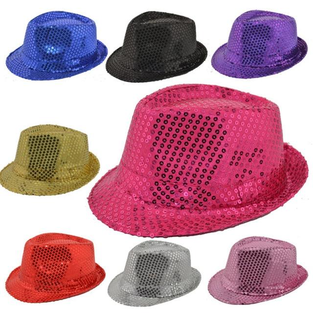 7b3a2db6920c59 9PCS Unisex Adult Bling Jazz Caps Magic Show Hat Sequin Fedora Hats For  Women Men Street Dance Party Costume Hip Hop D201