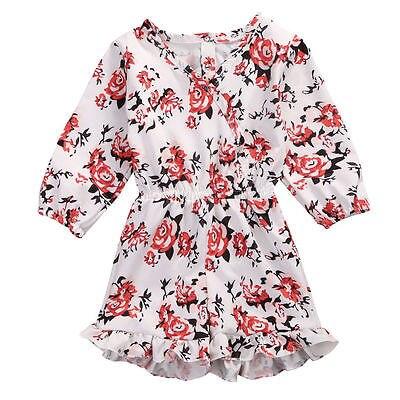 Helen115 Pretty Newborn Baby Girls Floral Printed Full Sleeve V neck Cotton Dresses 0-24M