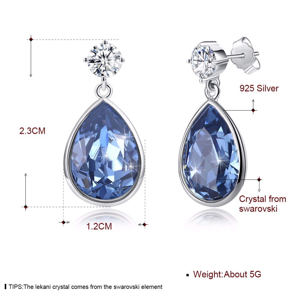 LEKANI Blue Crystal Water Drop Stud Earring Crystals From Swarovski 925 Sterling Silver Fine Jewelry For Women Best Friends Gift