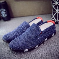 Men Shoes 2017 Summer Breathable Fashion Flat Men Shoes Male Casual Shoes Slip On Lazy Men