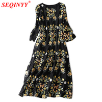 High Quality Silk Dress Women 2018 Spring Fashion New Heavy Work Floral Embroidery Plus Size XXL