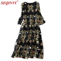 High Quality Silk Dress Women 2018 Spring Fashion New Heavy Work Floral Embroidery Plus Size XXL