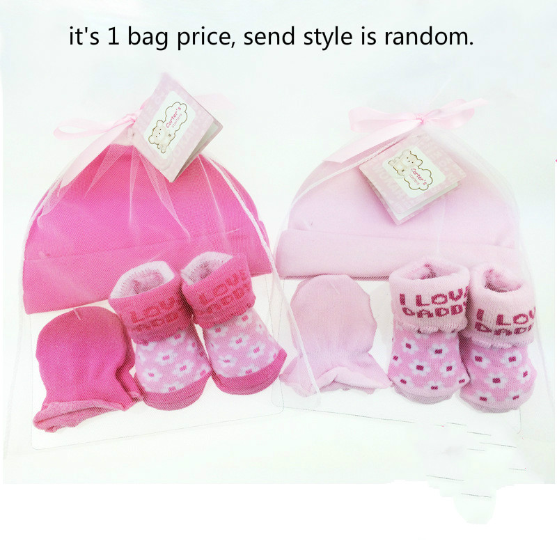 1 Bag Baby Socks + Anti-scratch Gloves +Hat Set Cute Cartoon Baby Hat Set Newborn Baby Girls Boys 100 Days/1 Month Party Gift Baby & Kids