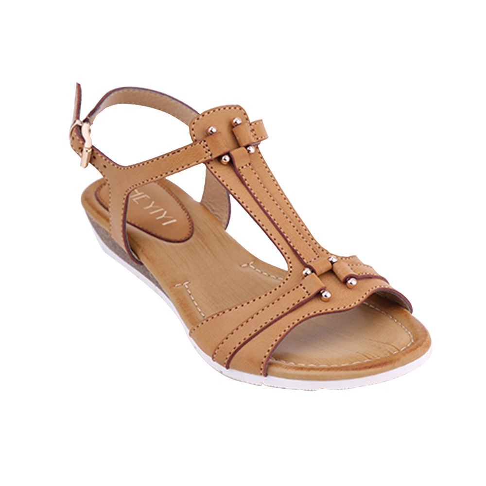 HEYIYI Women's Flat Sandals Summer Beach T-Strap Open Toes Wedge Soft Insole Gladiator Thongs Big Size Beige Black Color Shoes fashion boutique beige rubber soft front insole for ladies fit any shoes