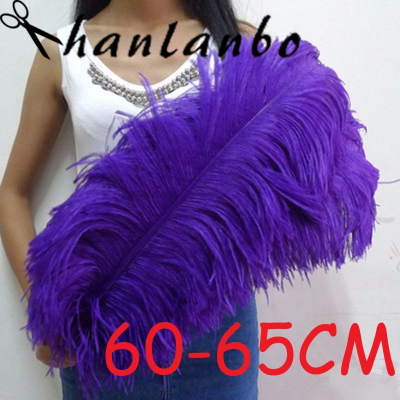 Newsoft and fuffly Purple ostrich plumages non static material 60 65cm 20pcs/lot 24 26'' Ostrich Feather plumes