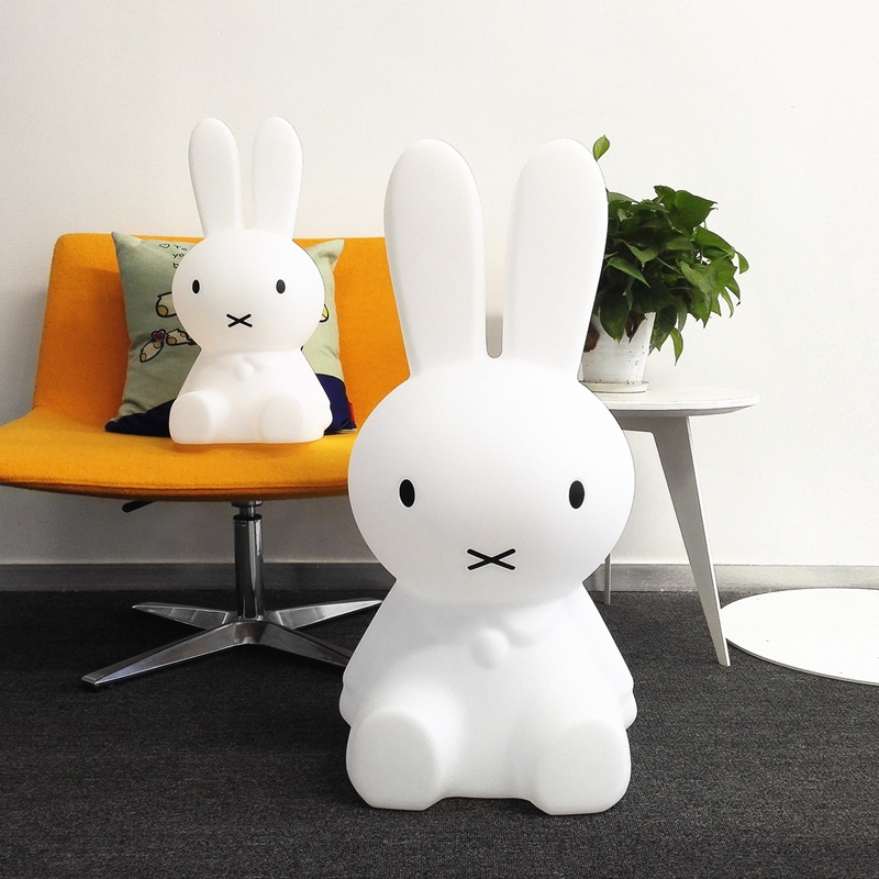 H80CM Large Rabbit Lamp Dimmable Led Night Light Baby Children Kids Gift Animal Cartoon Bedside Bedroom Living Room Floor Lamp creative cartoon baby cute led act the role ofing boy room bedroom chandeliers children room roof plane light absorption