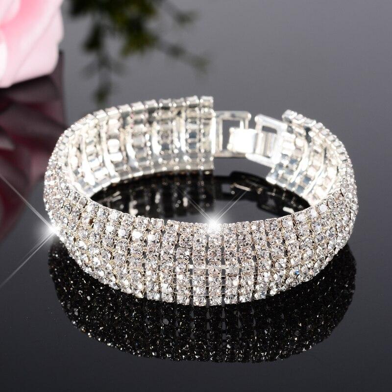 Luxury Brand Wedding Bracelet Best Selling 2018 Products Multi-layer Hand Bracelets Women Silver Crystal Charm Bbangle Braslet