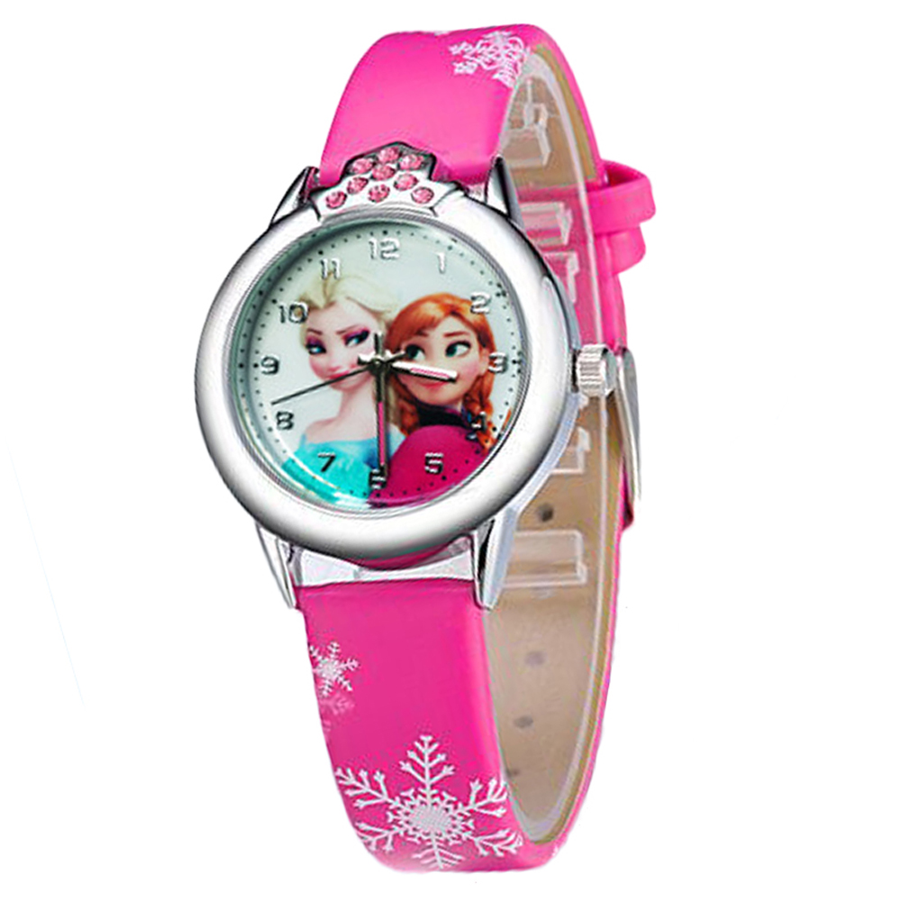 2017New Cartoon Children Watch Princess Elsa Anna Watches Fashion Girl Kids Student Cute Leather Sports Analog Wrist Watches hot