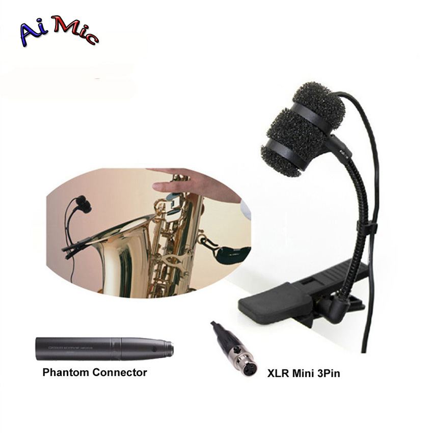 Gooseneck Instrument Microphone Music Saxophone Transmitter Microfone with Mini XLR 3pin for AKG Samson Wireless System Mic цена