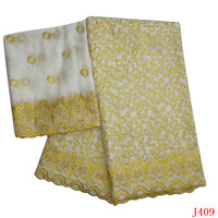 White/Gold African Fabric Lace Nigeria High Quality Bridal Cotton Fabric 2019 Bazin Riche Getzner for Women HA409