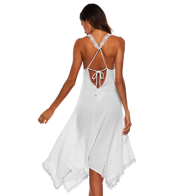 Laamei Sexy Backless Boho Beach Dress Women 2018 Summer Plus Size White Lace Spaghetti Strap Dress Party V-neck Party Club