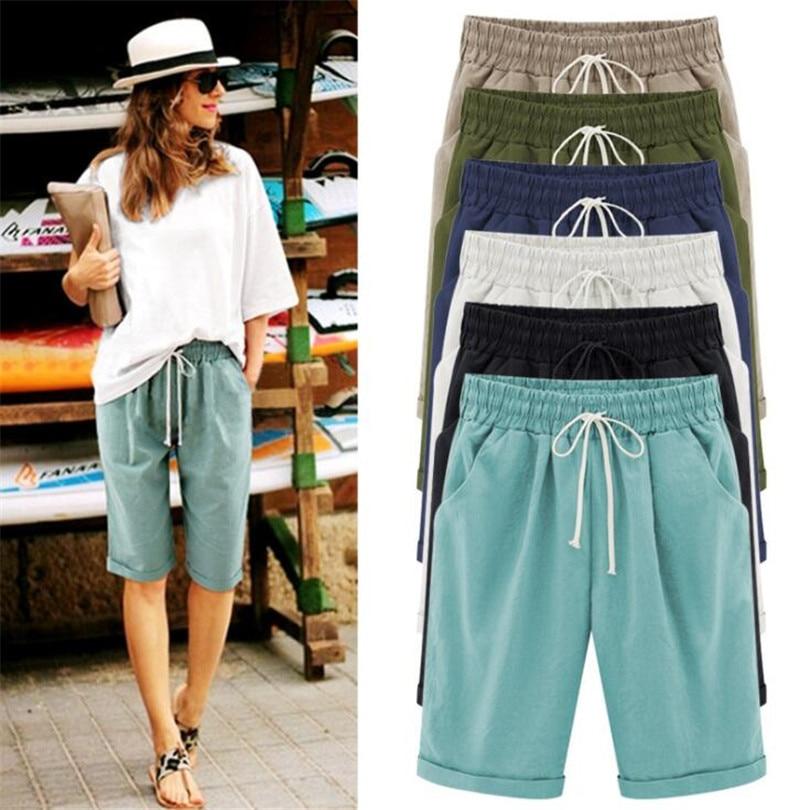 YRRETY Women Summer Shorts Solid Pocket Elastic High Waist Short Femme Linen Shorts Casual Loose With Belt Shorts Plus Size 6XL