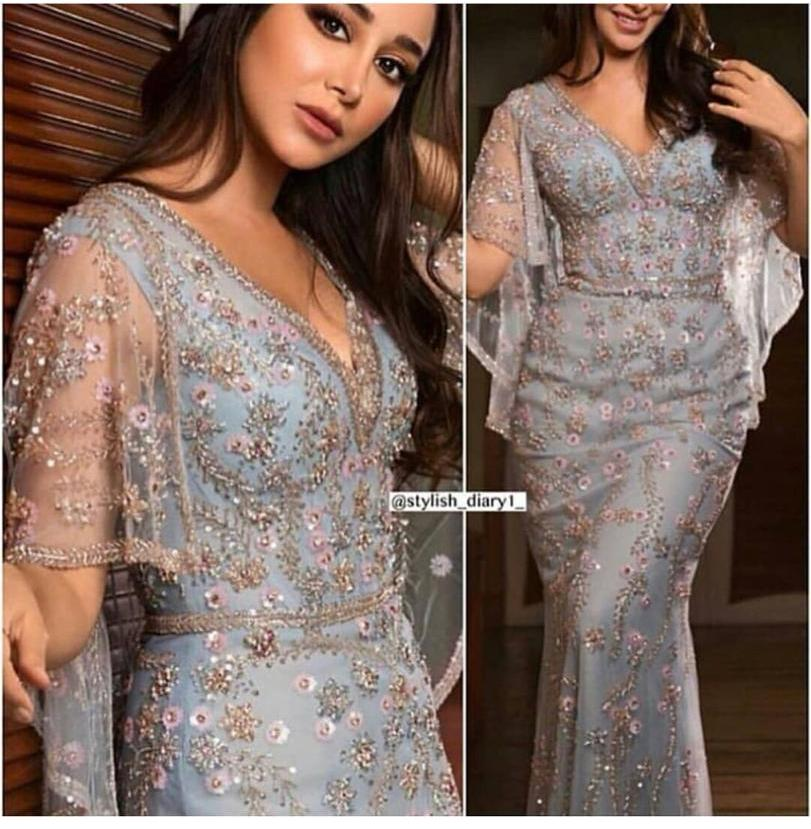 VARBOO ELSA Luxury Crystal Hand Made Evening Dress 2018 Elegant Mermaid Prom Dress Long Champagne Tulle