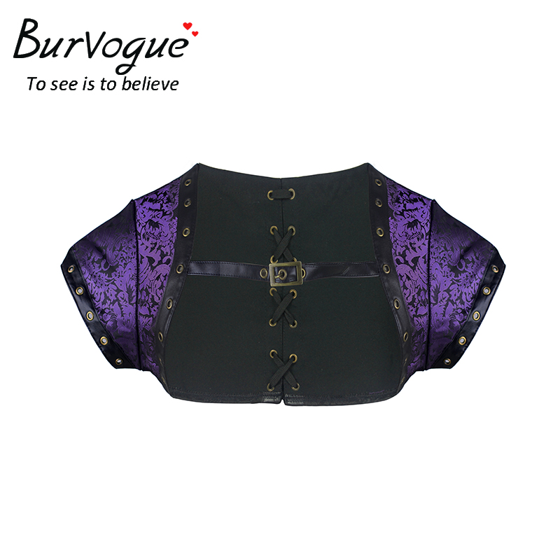 Burvogue Women Steampunk   Corset   Top Plus Size Summer Short Sleeve Gothic   Corset   Top Dobby Embroidery   Corset   Top with Shoelace
