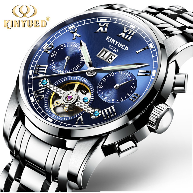 KINYUED Mens Watches Top Brand Luxury Automatic Mechanical Watch Men Stainless Steel Sapphire Calendar Relogio Masculino недорго, оригинальная цена