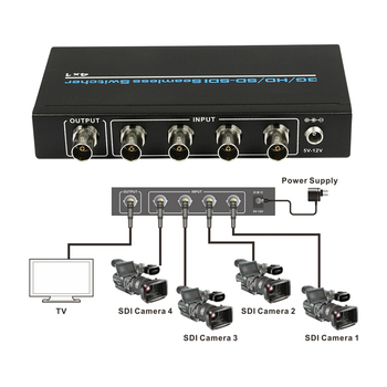 resolution 3G/HD/SD_SDI Seamless switcher 4x1 4 in 1 out,Supports 300m for SD, 200m for HD and 100m for 3G signals