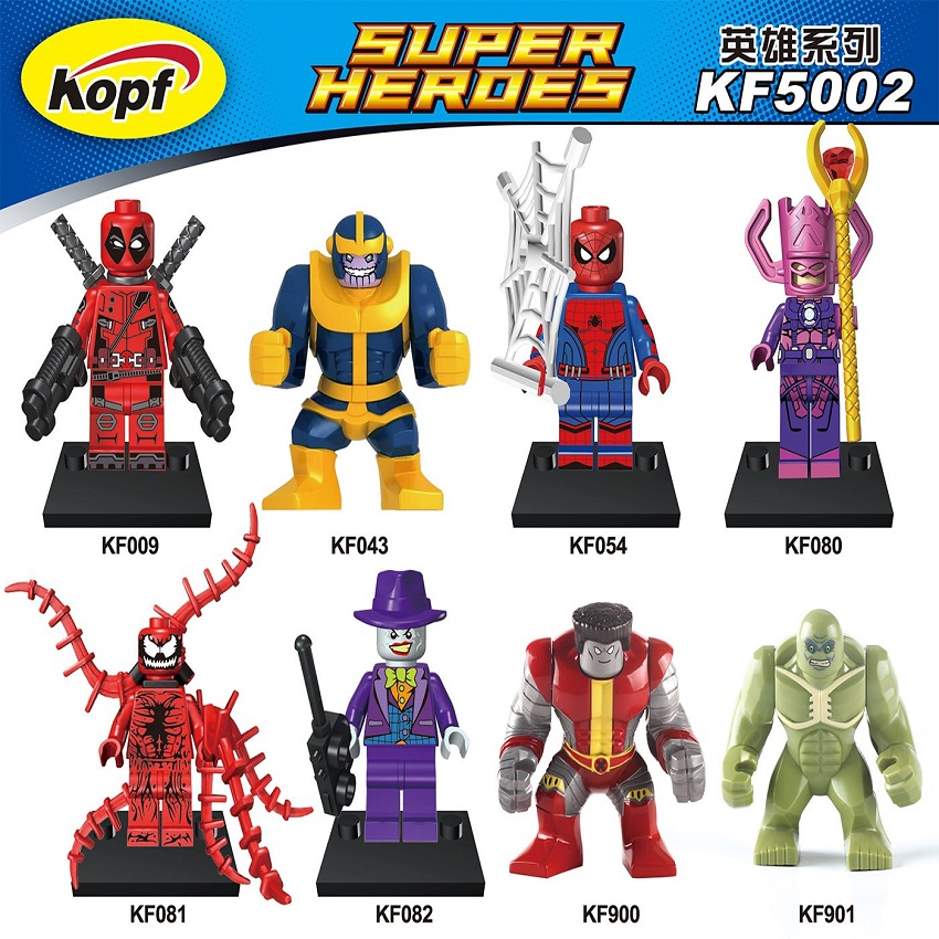 Super Heroes Colossus Abomination Hulk Galactus Deadpool Spiderman Thanos Purple Joker Building Blocks Children Gift Toys KF5002