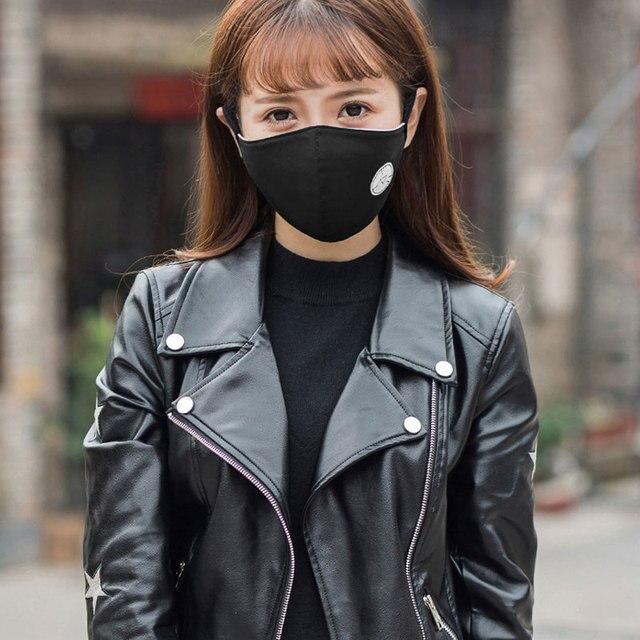 Black Noctilucent Mouth Mask Anti Dust Mask Fashion Cotton Windproof Mouth-muffle Proof Flu Face Masks Care Reusable 1Pcs 2