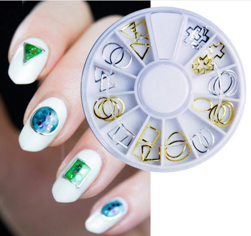 1 Wheel Japanese wheel nail art rivet/stud gold\alloy curved metal frame for nails Vacuum ring 3D alloy hollow circle