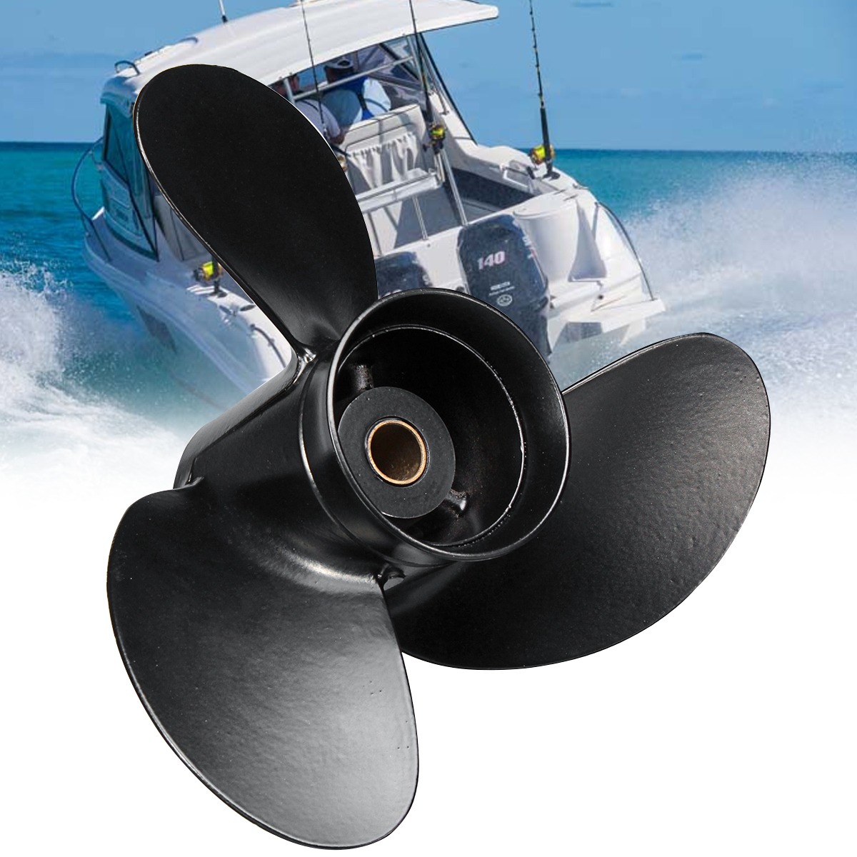 3B2W64517 1 for Tohatsu Nissan Mercury 8 9.8HP 8.5X9 Boat Outboard Propeller Aluminum Alloy 12 Spline Tooths 3 Blades Black