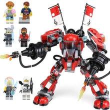 Лепин 06052 Ninjagoing фильм огонь мех Робот строительные блоки кирпичи развивающие игрушки, как дети подарок Совместимость с lego 70615