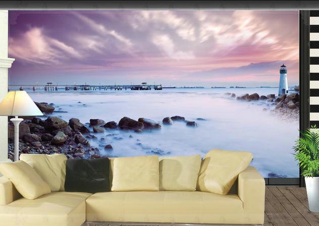 carta da parati paesaggio di mare faro murale carta da parati ... - Carta Da Parati Paesaggi Naturali