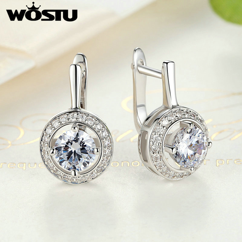 WOSTU אוסף חדש מלא של אהבה עם עגילי צורה עגולה עבור נשים אביזרים תכשיטים ZBFE106