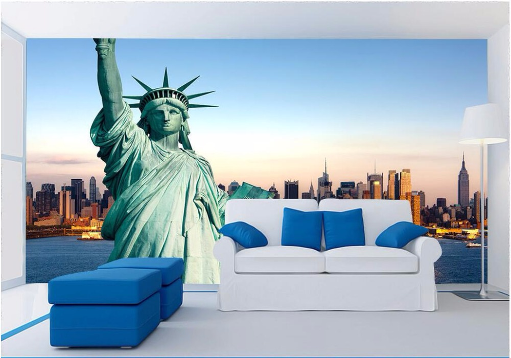 Custom mural 3d wallpaper statue of liberty in new york for Decorative mural painting
