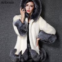 Aelorxin искусственный мех пальто искусственная норка с капюшоном воротник хорошее качество норки женский, черный 2019 новый стиль мода