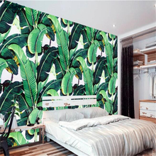 beibehang Large Customized European Style Retro Hand Painted Rainforest Plant Banana Leaf Pastoral Mural Background Wall