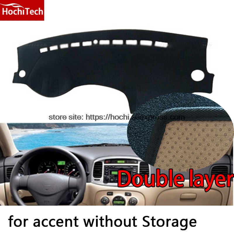 For Hyundai accent Double layer Silica gel Car Dashboard Pad Instrument Platform Desk Avoid Light Mats Cover Sticker
