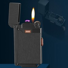 New 2In1 Gas Lighter USB Arc Plasma Lighter Electric Rechargeable Cigarette Lighters Multifunction Creative Men Gift Without Gas джинсы муж new albert chino gas
