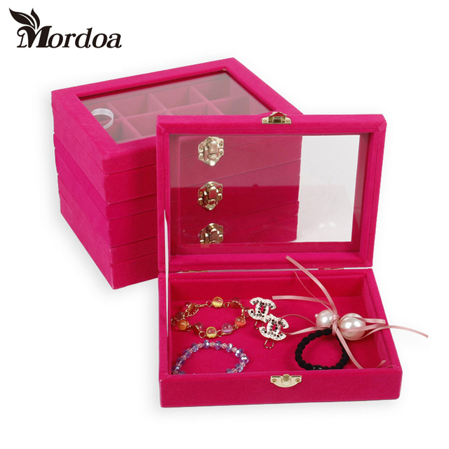 Mordoa Small Bracelet Jewelry Box With Glass Cover Pendant Receive A