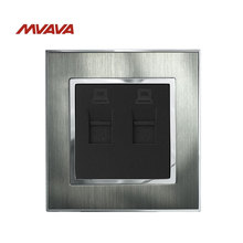 MVAVA Dual RJ45 Computer Jack Plug Port Wall Socket Double LAN Data Receptacle Luxury Outlets Silver Satin Metal Free Shipping