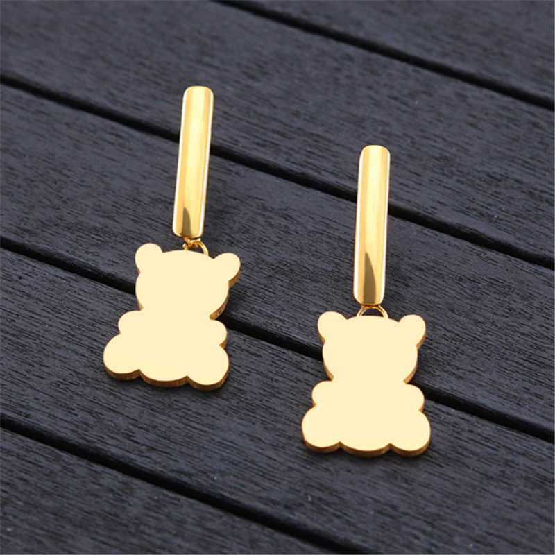 new cute animal bear stud earring for women gold silver personality stud earrings female fashion jewelry Statement party gifts