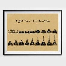 París Eiffe Torre imprimible Shabby Chic Vintage impresiones Poster Arte de la pared Decoración regalos de arquitecto impresiones industriales pintura 42x30cm