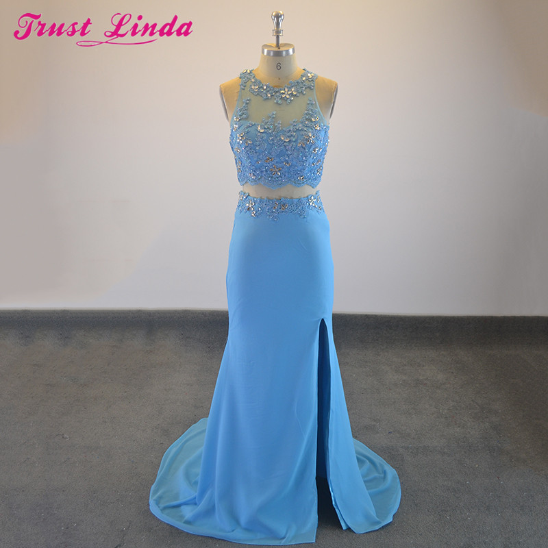 Sexy Blue Chiffon Sleeveless O-Neck   Bridesmaid     Dresses   2018 High Slit Beading Appliques Floor Length Prom   Dress   Party Wear Gowns