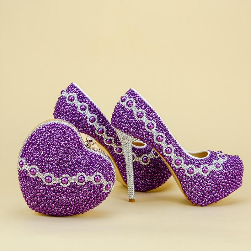 Женская обувь на очень высоком каблуке, chaussures femme ete, 2018, zapatillas mujer, женская обувь, фиолетовые туфли лодочки с жемчугом, обувь и сумка в комплек