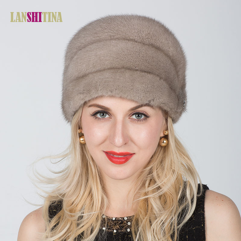 2017 New Genuine Natural Mink Fur Hat For Women's Real Fur Cap Winter Ladies Beanies Warm Headgear Natural Fur Hats Female Caps foreign trade explosion models in europe and america in winter knit hat fashion warm mink mink hat lady ear cap dhy 36